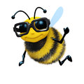 D academic bee render of a wearing a large pair of spectacles Royalty Free Stock Images