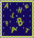 D alphabet letters of the in three dimensions in green and in light blue on a dark blue background Royalty Free Stock Photo