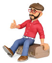 3D Alternative man sitting on a vintage suitcase hitchhiking Royalty Free Stock Photo