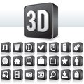 3D Apps Icon Technology Pictogram on Square Button Royalty Free Stock Photo
