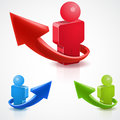 D arrow and people success concept icon symbol Stock Image