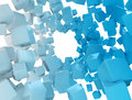 D background abstract plastic cubes on white Stock Image