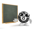 3d 8 Ball stands by the blackboard