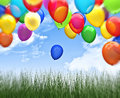 D balloon image of colorful and green grass Royalty Free Stock Photography