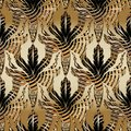 3d Baroque oak leaves and acorns seamless pattern. Vector antique interesting background. Wallpaper. Abstract striped oak