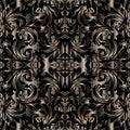 3d baroque seamless pattern. Vector floral dark textured background. Surface silk wallpaper. Antique vintage ornaments. Modern de Royalty Free Stock Photo