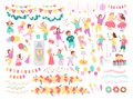 Vector collection of birthday party kids, decor idea elements isolated on white background - pinata, rocket, balloons, cake, garla Royalty Free Stock Photo
