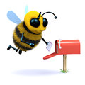 D bee gets mail render of a checking a mailbox for messages Stock Image