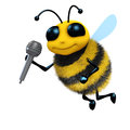 D bee sings render of a with a microphone Stock Photography