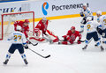 D berdyukov defend the gate moscow october during hockey game vityaz vs barys on russia khl championship on october in moscow Royalty Free Stock Image