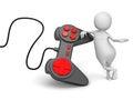 D bianco person with joystick controller Fotografia Stock Libera da Diritti