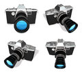 D black dslr camera range four set Stock Images