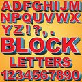 D block letters an alphabet set of and numbers Royalty Free Stock Image