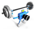 D blue camera character is doing powerful weightlifting exercises create robot series Royalty Free Stock Photo