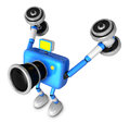 D blue camera character a dumbbell kick back exercise create robot series Royalty Free Stock Image