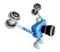 D blue camera character a dumbbell kick back exercise create robot series Stock Images
