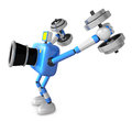 D blue camera character a dumbbell kick back exercise create robot series Royalty Free Stock Images