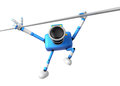 D blue camera character a powerful chin up exercise create d robot series Royalty Free Stock Photography