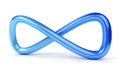 D blue infinity symbol on white background Stock Photography