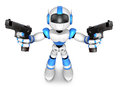 D blue robot mascot holding a automatic pistol with both hands create humanoid series Royalty Free Stock Images