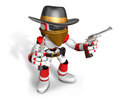 The d blue robot sheriff holding a revolver gun with both hands create humanoid series Stock Photos
