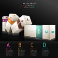 D box infographics infographic elements with black background Stock Images