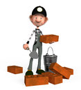 D boy builder the the lays a brick on building Stock Photos