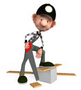 The d boy with a hacksaw on a tree saws boards Royalty Free Stock Photo