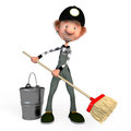 D boy working cleaner the with a mop illustration cartoon Royalty Free Stock Photos