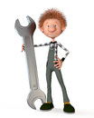 D boy working the on production with a wrench Royalty Free Stock Image