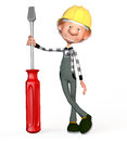 D boy working the with a screw driver illustration Stock Photos