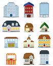D building icon set vector Stock Photography