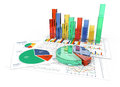 3D business charts in color Royalty Free Stock Photo