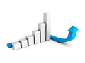 3d business graph with blue arrowon white background Royalty Free Stock Photo