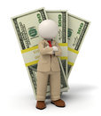 D business man in beige suit pack of money rendered standing front one hundred dollar packs Royalty Free Stock Photos