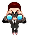 The d business man a binoculars watching d salesmen character Royalty Free Stock Photography
