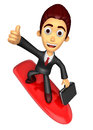 3D Business man Mascot balancing on a surfboard best gesture. Wo Royalty Free Stock Photo