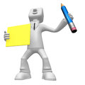 3D Business man mascot hand is holding a pencil and board. 3D Sq Royalty Free Stock Photo