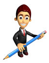 3D Business man mascot holding a big board with both Pencil. Wor Royalty Free Stock Photo