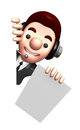 D business man mascot is holding paper documents work and job character design series Royalty Free Stock Photography