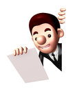 D business man mascot is holding paper documents work and job character design series Royalty Free Stock Photo