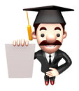 D business man mascot is holding paper documents work and job character design series Royalty Free Stock Image