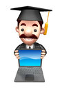 D business man mascot to promote laptop work and job character design series Stock Photo