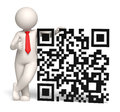 D business man showing thumbs up near a qr code rendered big matrix barcode aka Stock Photos