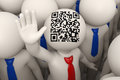 D business people waving qr code rendered and one of them with a red tie and matrix barcode aka on his head Royalty Free Stock Image