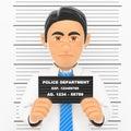 3D Businessman arrested. White collar criminal police photo