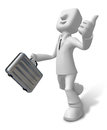 D businessman with briefcase up to a gesture d square man ser series Stock Photos