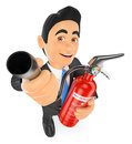 3D Businessman with a fire extinguisher. Occupational risk