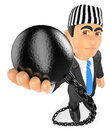 3D Businessman with prisoner ball. Corrupt politician Royalty Free Stock Photo