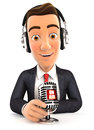 3d businessman radio presenter on air Royalty Free Stock Photo